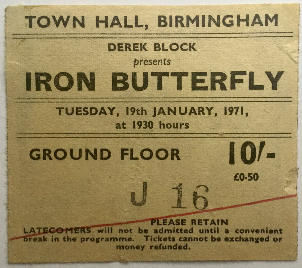 Yes Iron Butterfly Original Used Concert Ticket Town Hall Birmingham 19th Jan 1971
