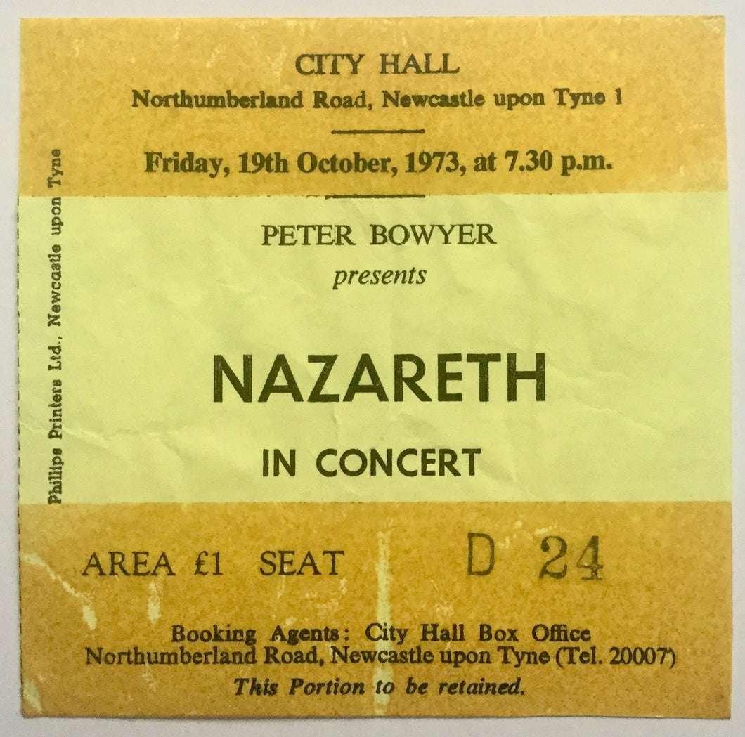 Nazareth Used Concert Ticket City Hall Newcastle 19th Oct 1973