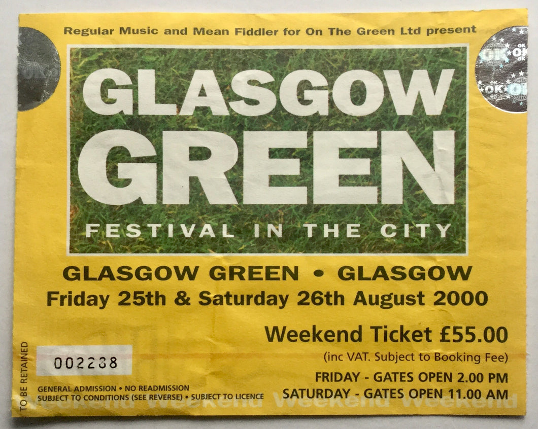 Oasis Paul Weller Original Used Concert Ticket Glasgow Green 25th 26th Aug 2000