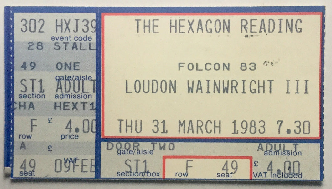 London Wainwright III Original Used Concert Ticket The Hexagon Reading 31st March 1983