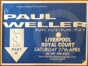 Paul Weller Movement Original Concert Tour Gig Poster Royal Court Theatre Liverpool 27th Apr 1991