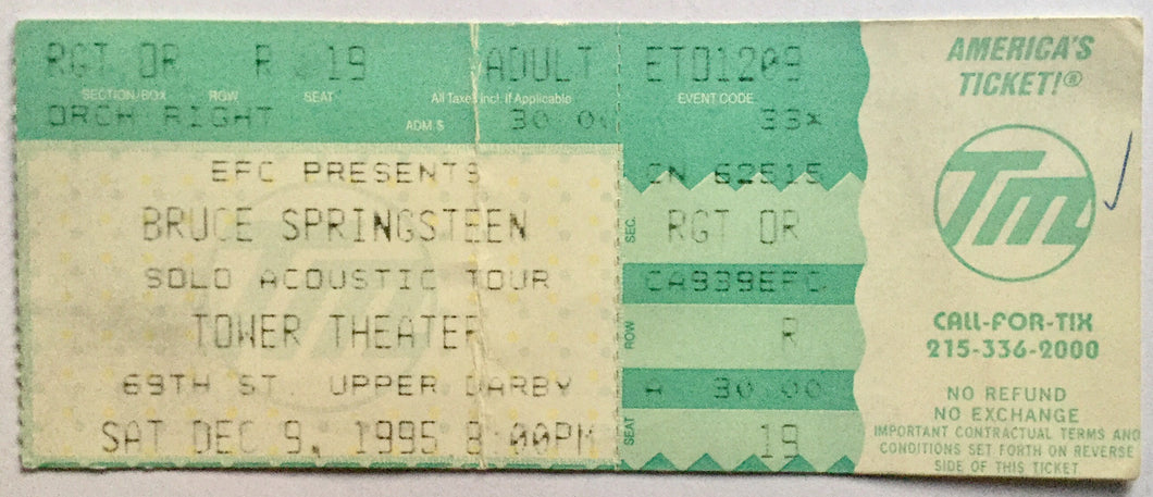 Bruce Springsteen Original Used Concert Ticket Tower Theatre New York 9th Dec 1995