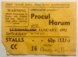 Procul Harum Original Used Concert Ticket Free Trade Hall Manchester 22nd Jan 1972