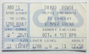 David Bowie Original Used Concert Ticket Kemper Arena Kansas City 4th Oct 1987
