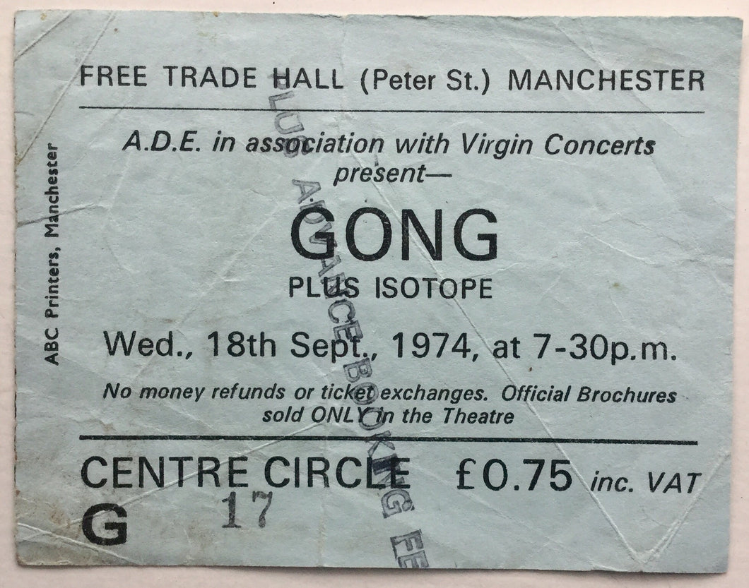 Gong Isotope Original Used Concert Ticket Free Trade Hall Manchester 18th Sept 1974