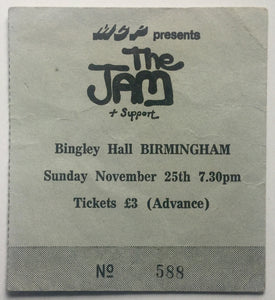 Jam Original Used Concert Ticket Bingley Hall Birmingham 25th Nov 1979