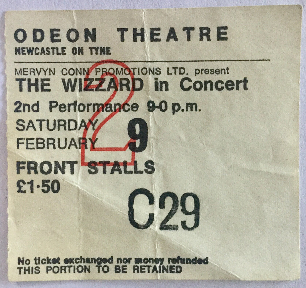 Wizzard Roy Wood Original Used Concert Ticket Odeon Theatre Newcastle 9th Feb 1974