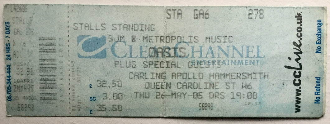 Oasis Original Unused Concert Ticket Carling Apollo Hammersmith London 26th May 2005