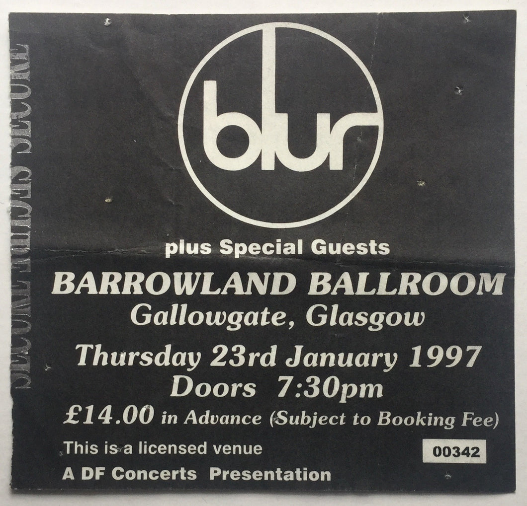 Blur Original Used Concert Ticket Barrowland Ballroom Glasgow 23rd January 1997