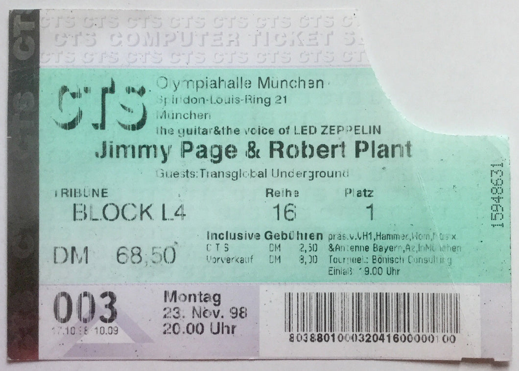 Led Zeppelin Robert Plant Jimmy Page Original Used Concert Ticket Olympiahalle Munich 23rd Nov 1998