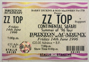 ZZ Top Original Unused Concert Ticket Brixton Academy London 14th June 1996