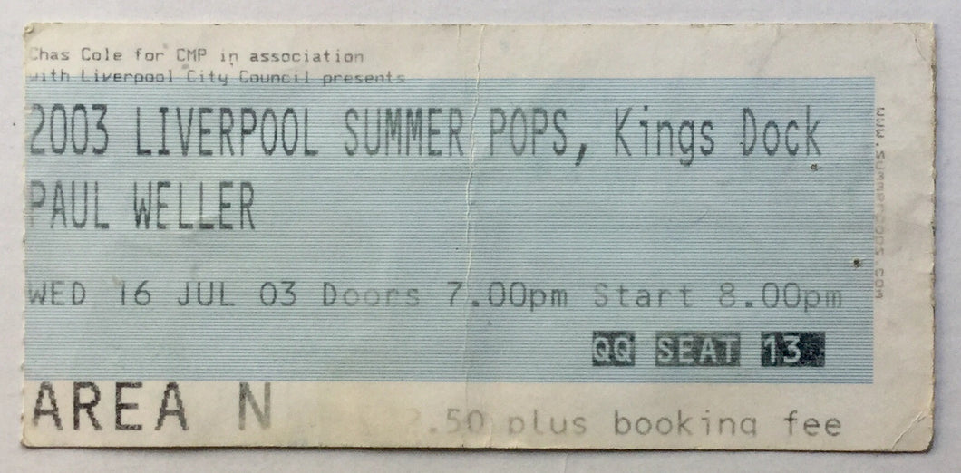 Paul Weller Original Used Concert Ticket Kings Dock Liverpool 16th Jul 2003