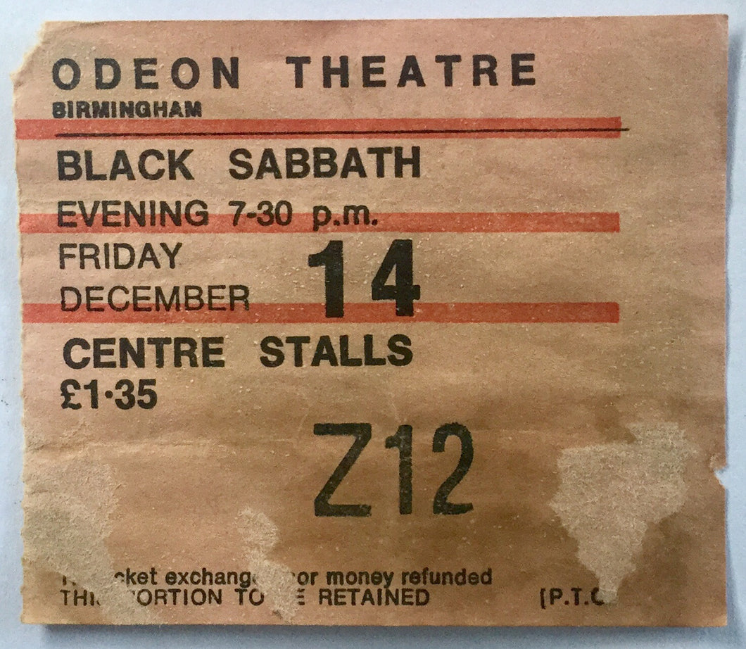 Black Sabbath Original Used Concert Ticket Odeon Theatre Birmingham 1973