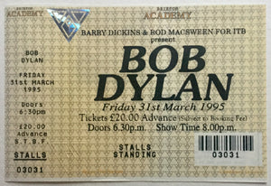 Bob Dylan Original Unused Concert Ticket Brixton Academy London 31st March 1995