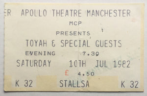 Toyah Original Used Concert Ticket Apollo Theatre Manchester 10th Jul 1982