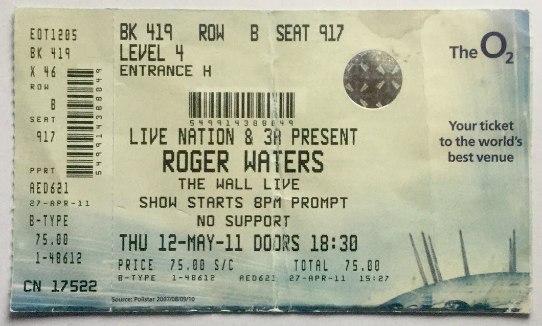 Pink Floyd Roger Waters Original Used Concert Ticket O2 Arena London 12th May 2011