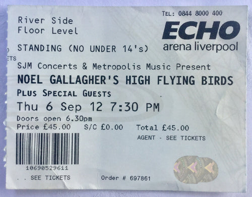 Oasis Noel Gallagher's High Flying Birds Original Used Concert Ticket Echo Arena Liverpool 6th Sept 2012