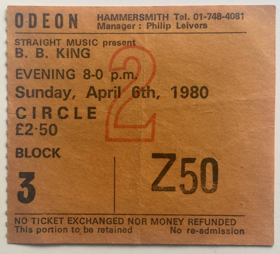 B.B. King Original Used Concert Ticket Hammersmith Odeon London 6th Apr 1980