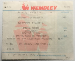 Roxy Music Bryan Ferry Original Used Concert Ticket Wembley Arena 20th Jan 1989