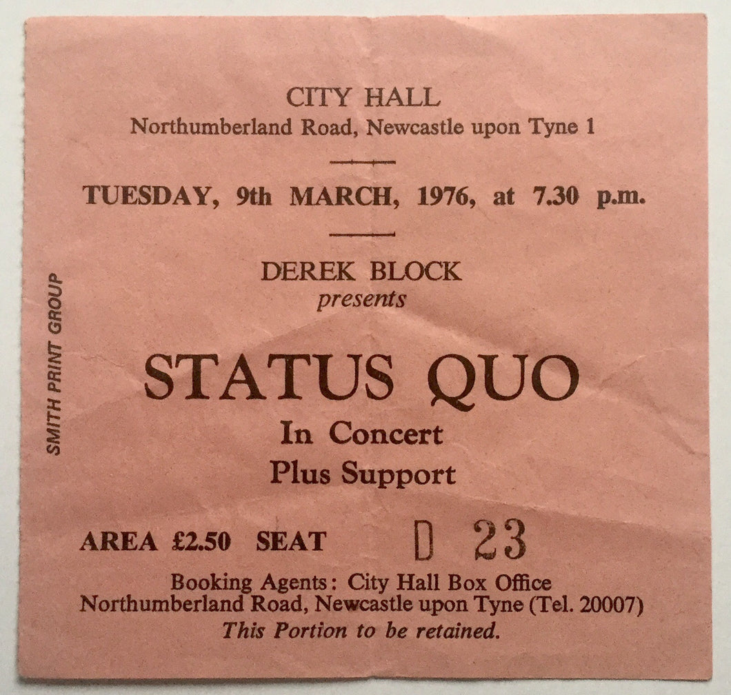 Status Quo Used Concert Ticket City Hall Newcastle 9th Mar 1976