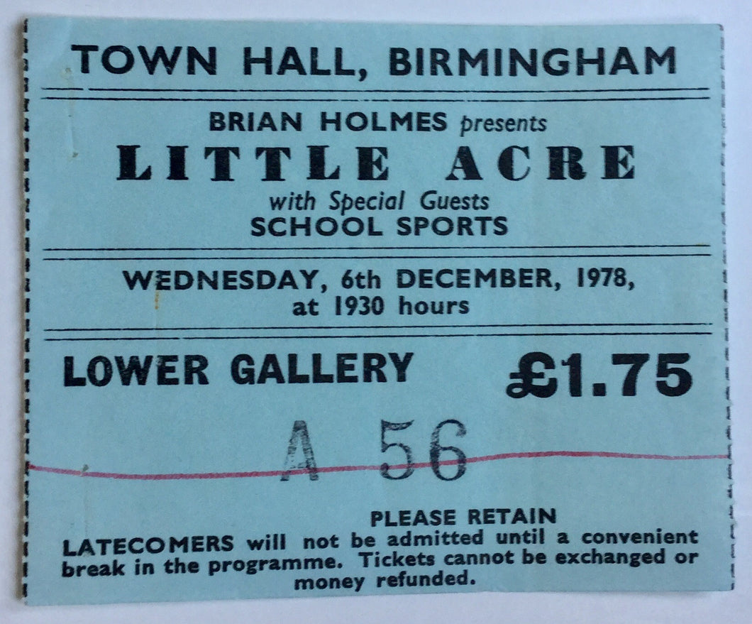 Little Acre Schools Sports Original Used Concert Ticket Town Hall Birmingham 6th Dec 1978