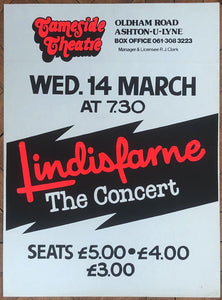 Lindisfarne Original Concert Tour Gig Poster Thameside Theatre Ashton Under Lyne 14th Mar 1984