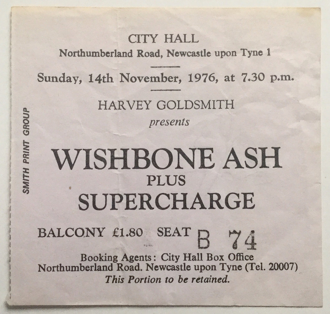 Wishbone Ash Used Concert Ticket City Hall Newcastle 14th Nov 1976