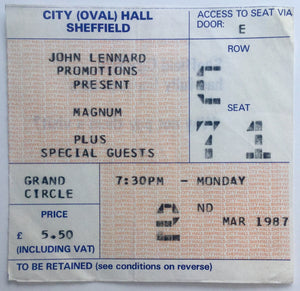 Magnum Original Used Concert Ticket City Hall Sheffield 2nd Mar 1987