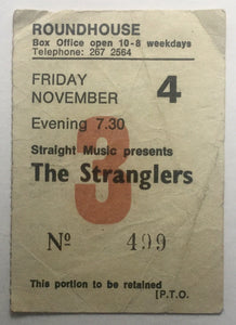 Stranglers Original Used Concert Ticket Roundhouse London 4th Nov 1977