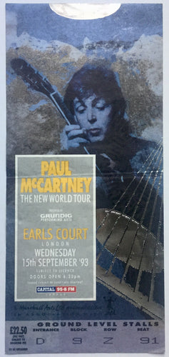 Beatles Paul McCartney Original Used Concert Ticket Earls Court London 15 Sept 1993