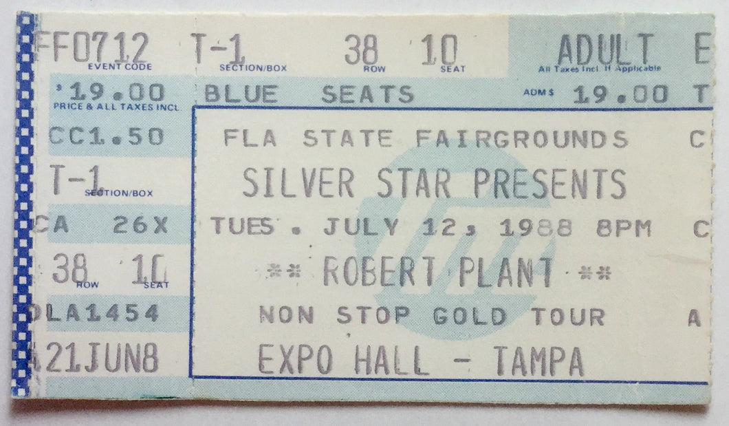 Led Zeppelin Robert Plant Original Used Concert Ticket Expo Hall Tampa 12th July 1988