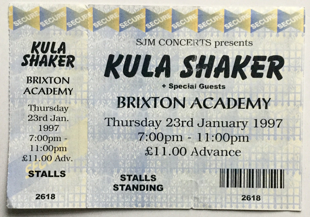 Kula Shaker Original Unused Concert Ticket Brixton Academy London 23rd Jan 1997