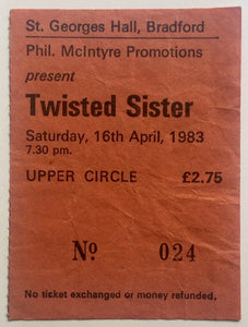 Twisted Sister Original Used Concert Ticket St. George's Hall Bradford 16th April 1983