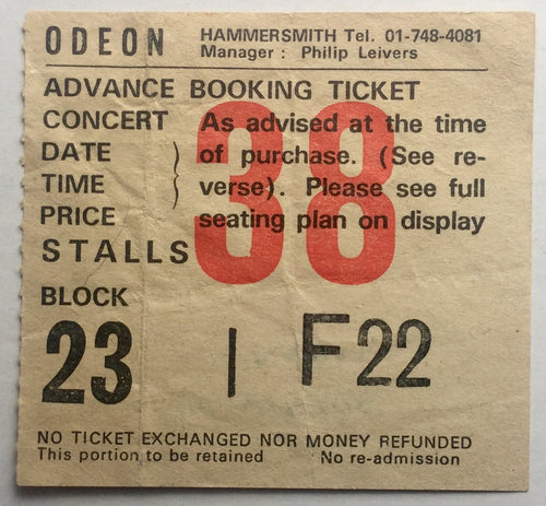 Tangerine Dream Original Used Concert Ticket Hammersmith Odeon London 20th Oct 1981