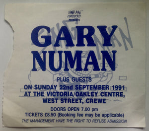 Gary Numan Original Used Concert Ticket Victoria Oakley Centre Crewe 22nd Sept 1991