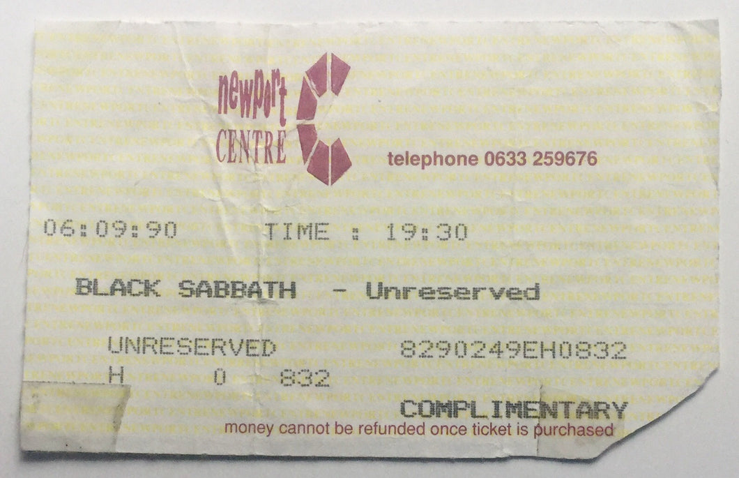 Black Sabbath Original Used Concert Ticket Newport Centre 6th Sept 1990
