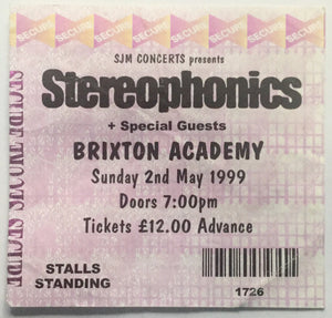 Stereophonics Original Used Concert Ticket Brixton Academy London 2nd May 1999