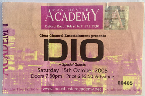 Dio Original Used Concert Ticket Manchester Academy 15th Oct 2005