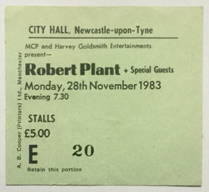 Led Zeppelin Robert Plant Original Used Concert Ticket City Hall Newcastle 28th November 1983