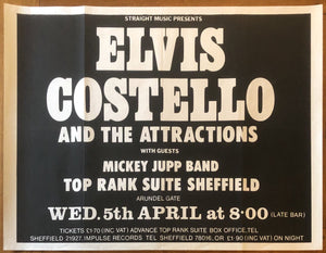 Elvis Costello Original Concert Gig Poster Top Rank Suite Sheffield 5th April 1978
