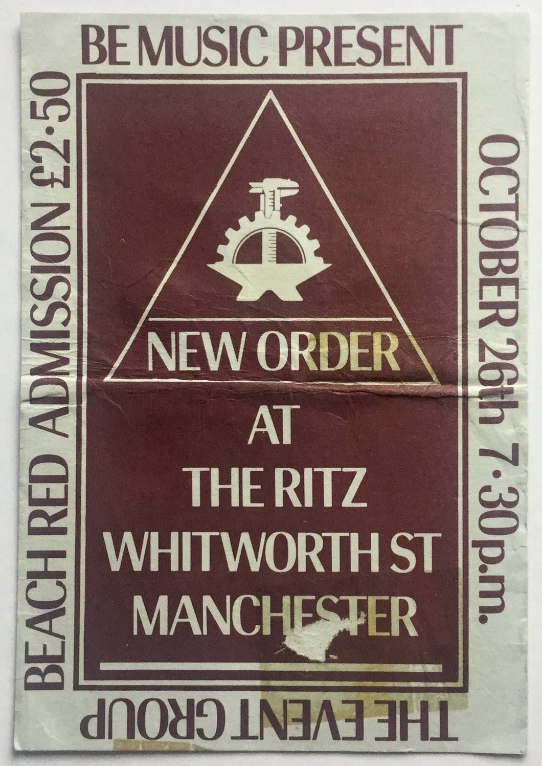 Joy Division New Order Original Used Concert Ticket The Ritz Manchester 26th Oct 1981