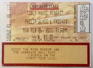 David Bowie Original Used Concert Ticket Carnegie Hall New York 26th Feb 2001