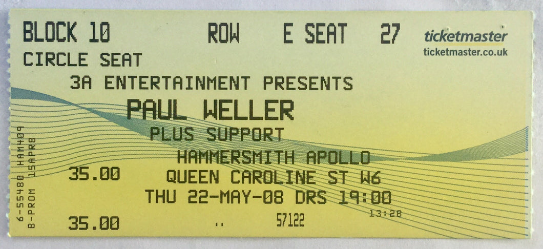 Paul Weller Concert Ticket Hammersmith Odeon London 22nd May 2008