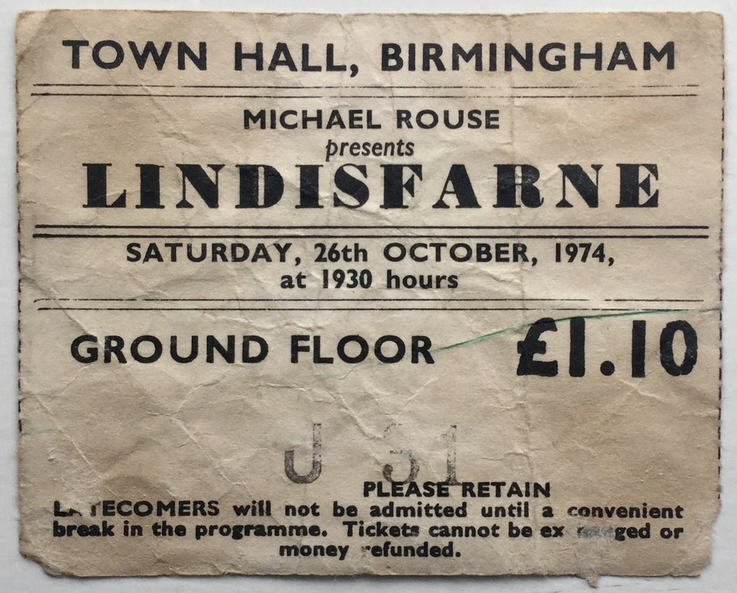Lindisfarne Original Used Concert Ticket Town Hall Birmingham 26th Oct 1974