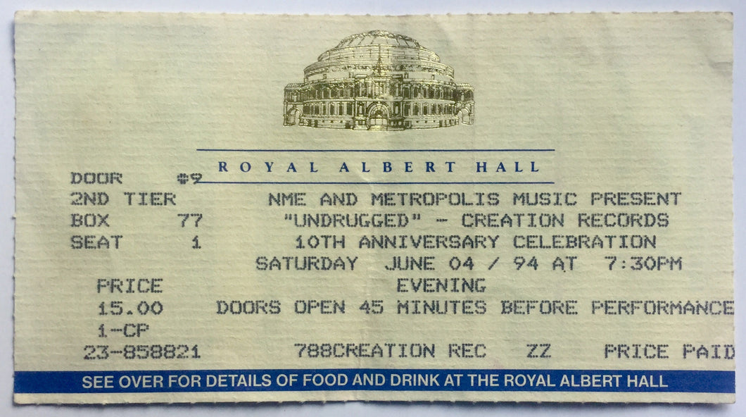 Oasis Original Early Concert Ticket Royal Albert Hall London 4th June 1994