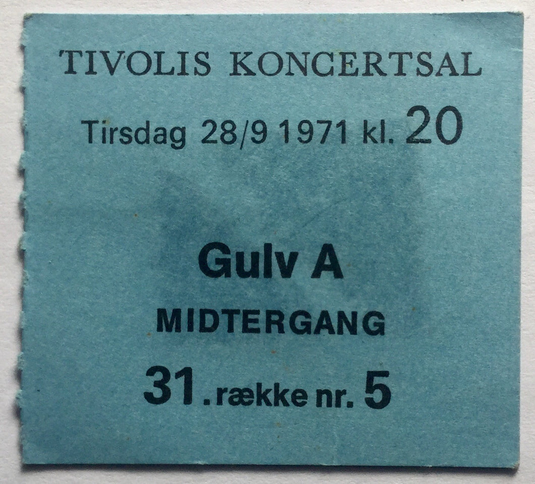 Rory Gallagher Original Used Concert Ticket Tivolis Koncertsal Copenhagen 28th sept 1971