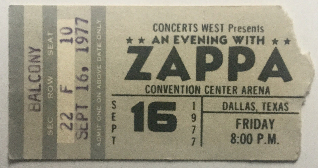Frank Zappa Original Used Concert Ticket Convention Center Arena Dallas 16th Sept 1977