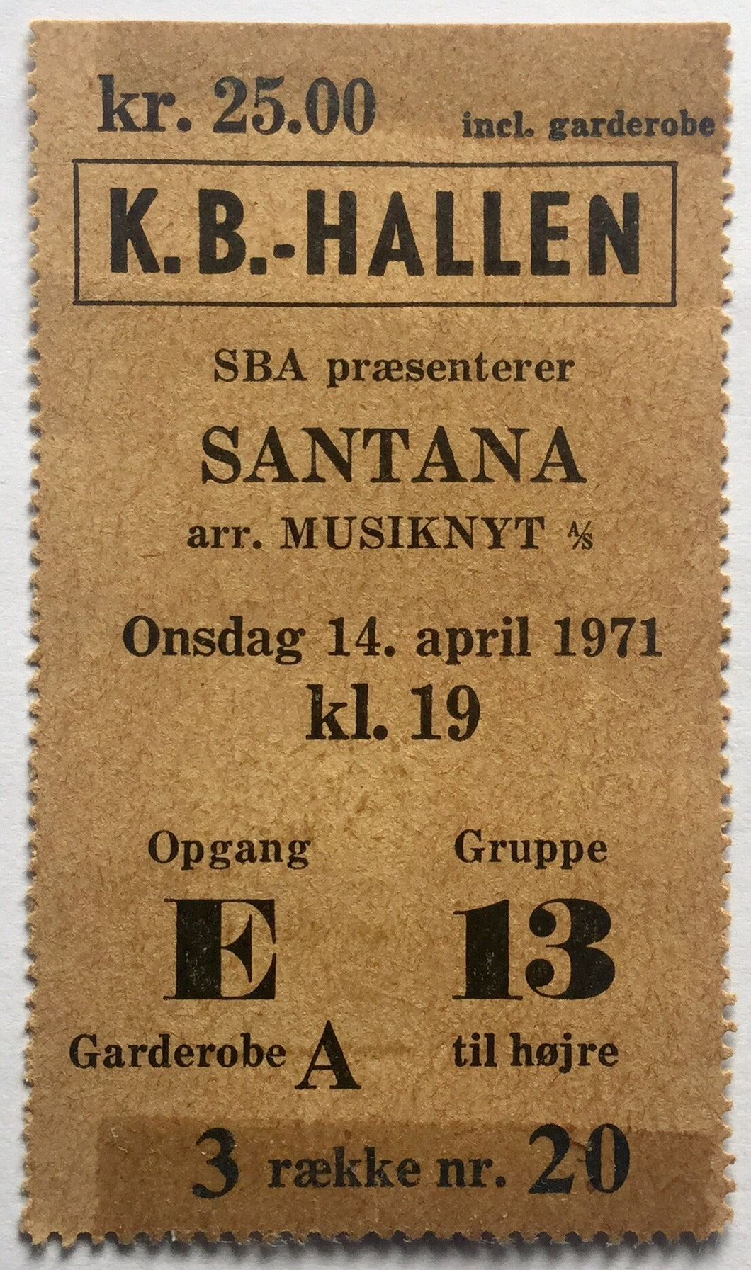 Santana Original Used Concert Ticket KB Hallen Copenhagen 14th April 1971