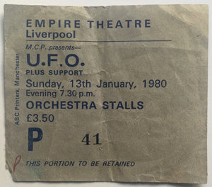 U.F.O. UFO Original Used Concert Ticket Empire Theatre Liverpool 13th Jan 1980