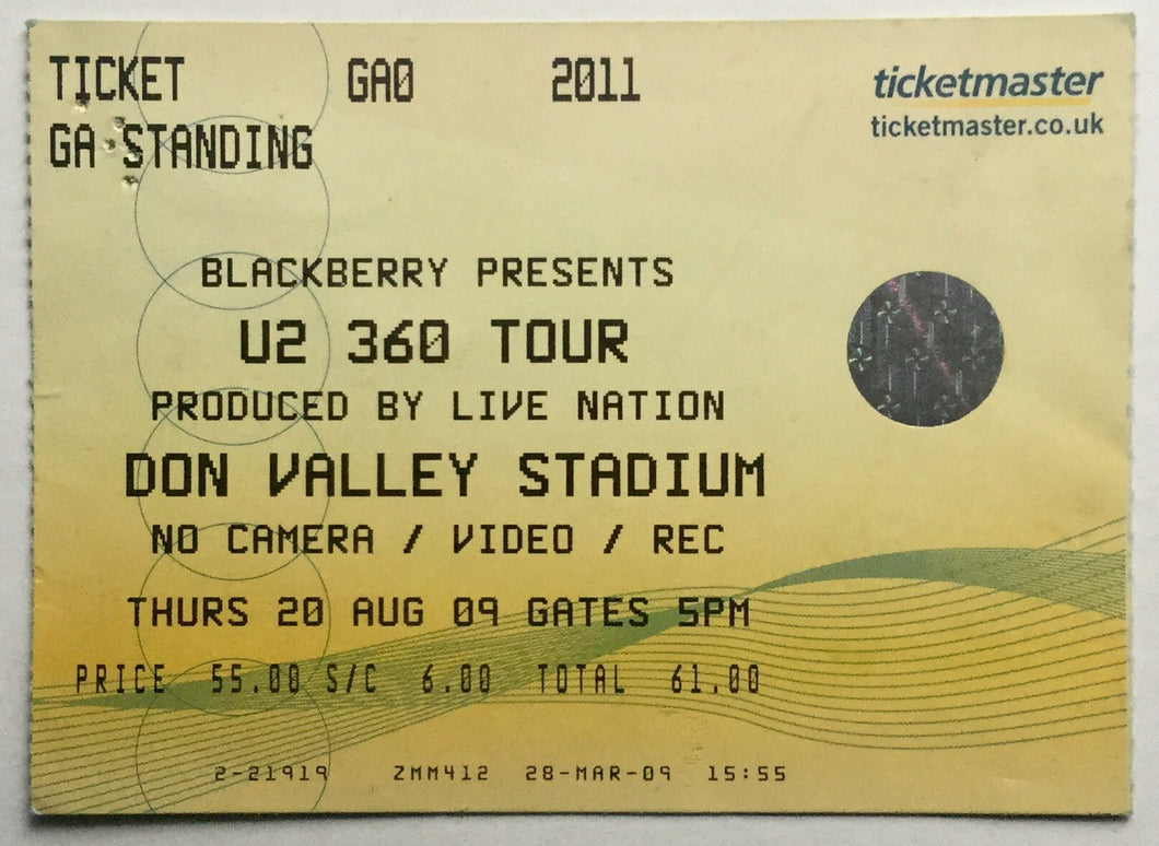 U2 Original Used Concert Ticket Don Valley Stadium Sheffield 20th Aug 2009